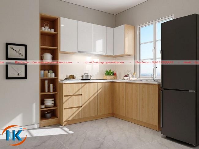 Thiết kế đẹp, tối ưu công năng sử dụng tạo ưu điểm tuyệt vời cho mẫu tủ bếp melamine này