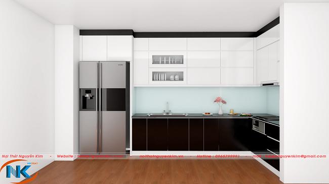 Mẫu tủ bếp gỗ melamine an cường đẹp hiện đại