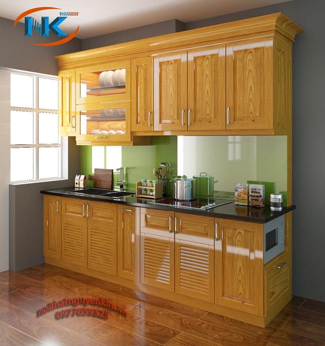 Tủ bếp thẳng được bố trí gọn gàng, tối ưu các khu vực chức năng chính