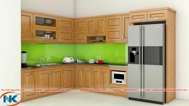 Mẫu tủ bếp gỗ sồi nga hiện đại TBSN41 cho căn bếp ngăn nắp, gọn gàng, tiện nghi hơn