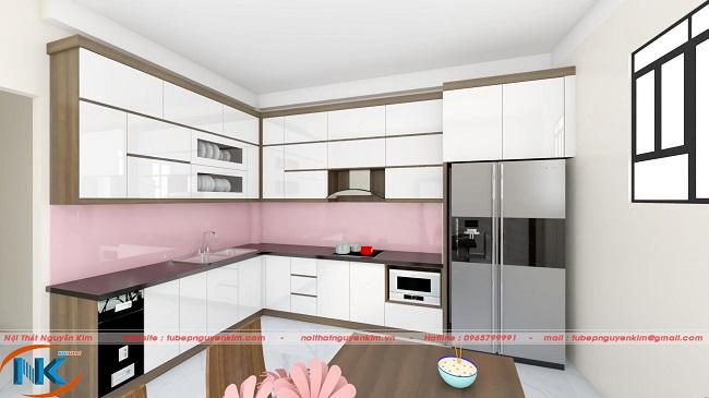 Mẫu tủ bếp acrylic màu trắng kiểu dáng chữ L hiên đại, mở rộng không gian bếp