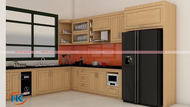 Mẫu tủ bếp gỗ sồi nga chữ L xinh xắn, thiết kế hiện đại tạo không gian mở, rộng rãi cho phòng bếp