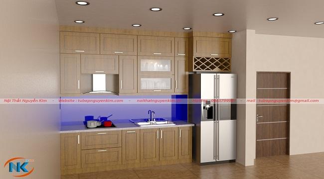 Tủ bếp chữ I kịch trần gỗ sồi mỹ đẹp hoàn hảo cho căn bếp chung cư cao cấp