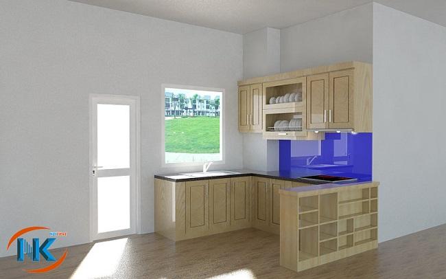 Khu vực bếp hẹp lựa chọn tủ bếp chữ U nhỏ xinh này vừa tiết kiệm không gian. Căn bếp vô cùng ngăn nắp đầy tính hiện đại