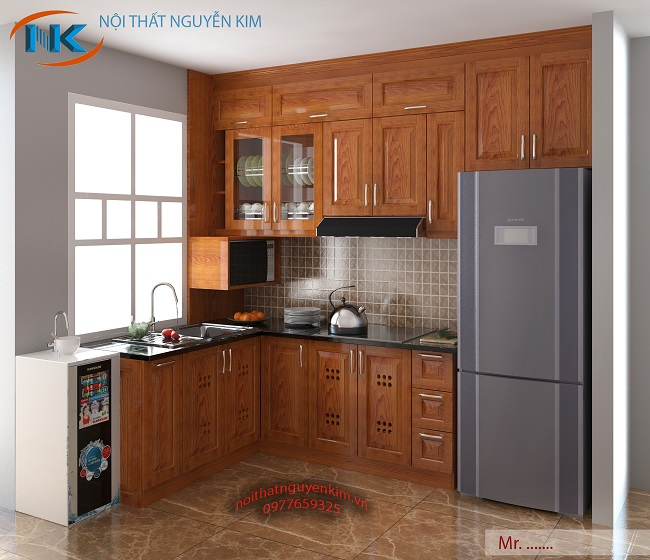 Tận dụng phần cửa sổ làm ô chậu rửa là lựa chọn hợp lý nhất cho mẫu tủ bếp chữ L kịch trần này