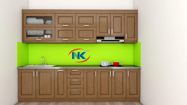 Mẫu tủ bếp gỗ sồi mỹ tự nhiên sơn màu nâu đậm sang trọng, cao cấp