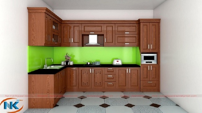 Mẫu tủ bếp xoan đào chữ L cùng đường nét thiết kế đơn giản, khỏe khoắn, hiện đại