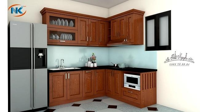 Phòng bếp nhỏ bạn vẫn có ngay bộ tủ bếp gỗ xoan đào chữ L đơn giản vẫn đầy đủ các khu vực chức năng chính