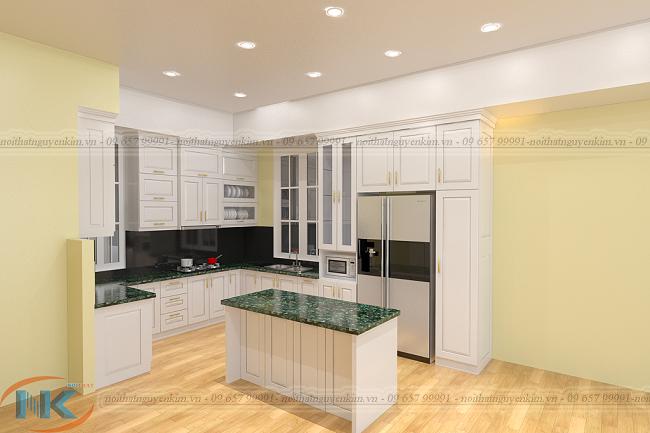 Phong cách thiết kế tân cổ điển với mẫu tủ bếp gỗ sồi nga sơn trắng có bàn đảo tiện nghi và sang trọng
