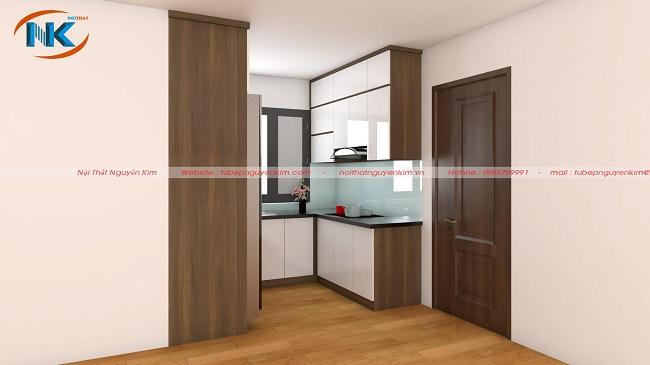 Mẫu tủ bếp acrylic chữ U nhỏ xinh cho phòng bếp chung cư