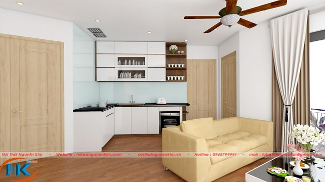 Góc nhìn phòng bếp từ phòng khách khá gọn gàng và sang trọng cho tổng thể không gian chung căn hộ 60m2