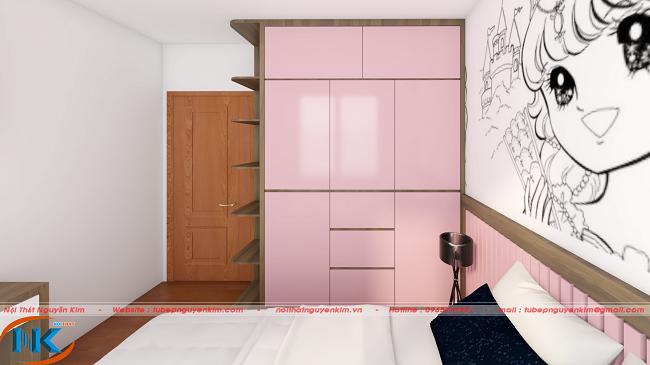 Tủ áo màu hồng được thiết kế khác bắt mắt, có nhiều ngăn tủ để đồ ngăn nắp và xinh xắn