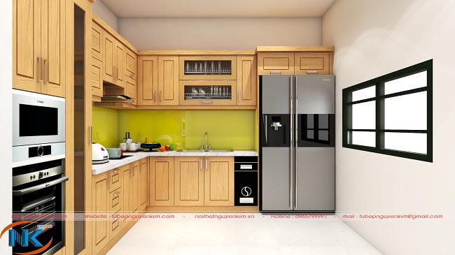 Kiểu dáng chữ L hiện đại với màu vàng đặc trưng riêng của dòng tủ bếp gỗ sồi nga