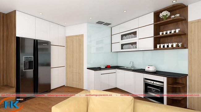 Tủ bếp acrylic màu trắng được thiết kế kiểu dáng chữ L tiết kiệm không gian chung