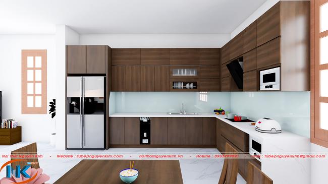 Bộ tủ bếp nhựa laminate màu vân gỗ Nguyễn Kim thi công nhà anh Thắng, chị Liên Tp.Bắc Ninh