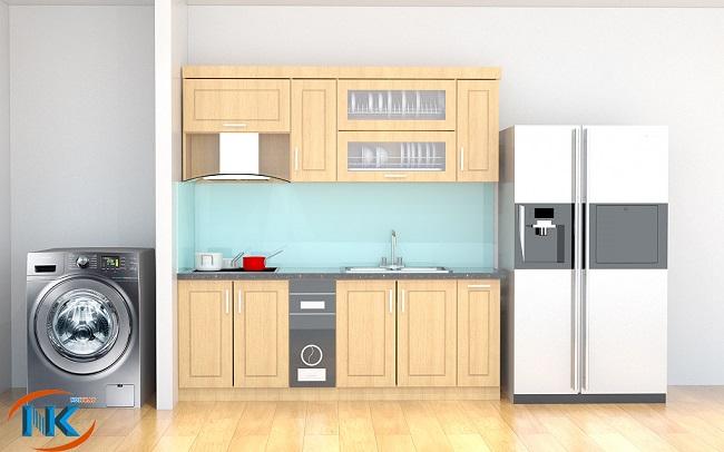 Kiểu dáng chữ I nhỏ xinh xắn bao gồm đầy đủ đủ chức năng chính của một căn bếp