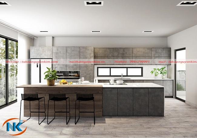 Mẫu tủ bếp laminate màu vân đá sang trọng rất hiện đại