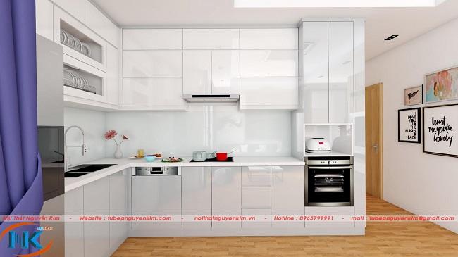 Góc nhìn chính diện bộ tủ bếp acrylic đẹp hoàn hảo với các khu vực bếp bố trí tiện sử dụng và khoa học.