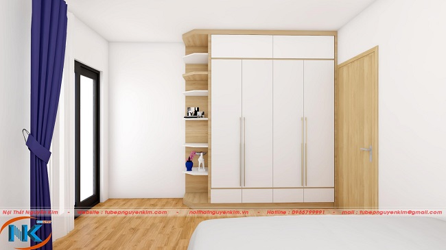 Tủ áo bốn cánh thiết kế kịch trần tăng diện tích sử dụng. Cánh tủ sử dụng tay nắm dài mạnh mẽ, cứng rắn như tính cách con trai