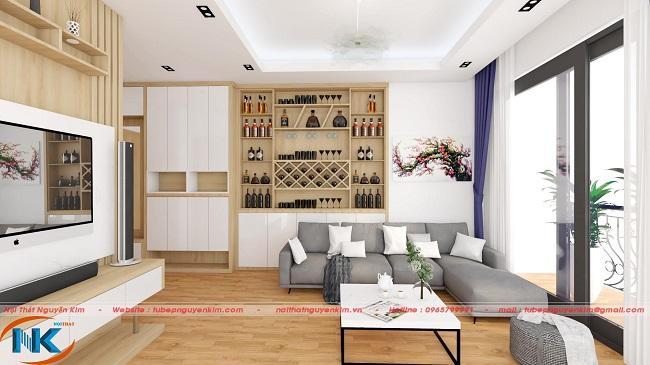 Phòng khách đơn giản, nhẹ nhàng với tông màu trắng làm chủ đạo