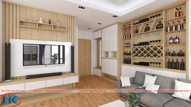 Khu vực tủ rượu được thiết kế khá tinh xảo. Kệ tivi thiết kế đơn giản với kệ trang trí xinh xắn