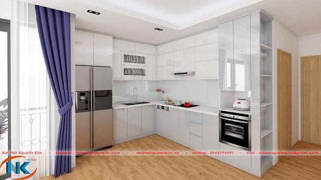 Tủ bếp acrylic thiết kế kịch trần kiểu dáng chữ L vừa tiết kiệm diện tích và không gian phòng bếp như mở rộng hơn