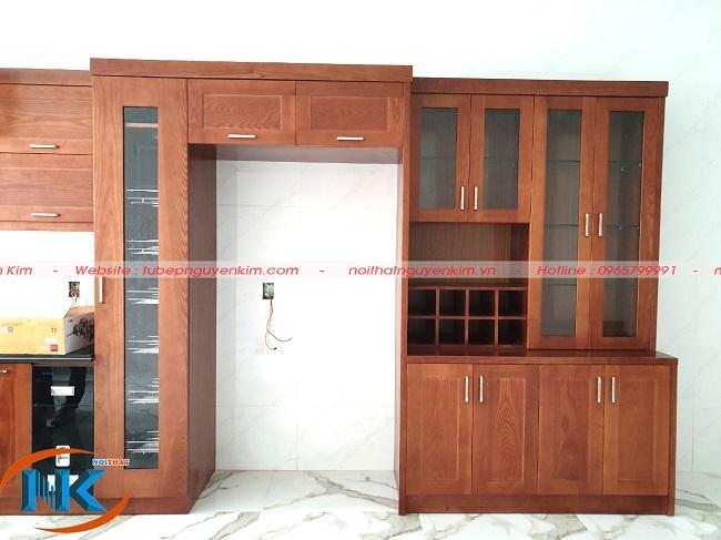 Phần tủ rượu, tủ kho và khu vực tủ lạnh sau khi hoàn thành