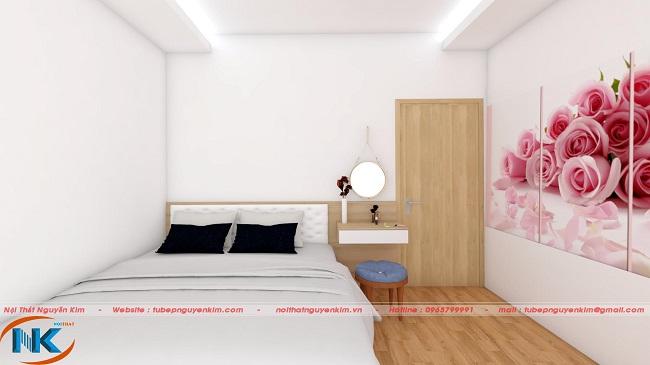 Bức tranh hoa hồng làm điểm nhấn cho phòng ngủ mềm mại, nhẹ nhàng dành cho con gái