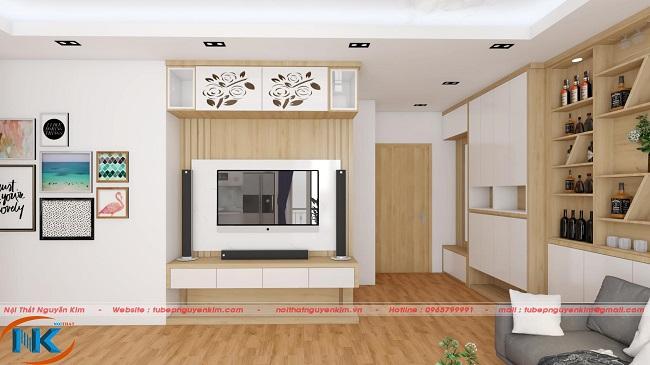 Phương án cho tủ trang trí trên kệ tivi nổi bật với cánh tủ cắt hình hoa tạo điểm nhấn
