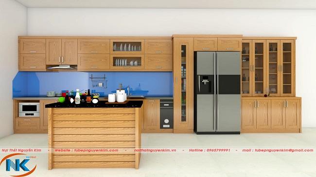 Bản thiết kế 3D tủ bếp gỗ sồi nga có bàn đảo nhà chị Hòa