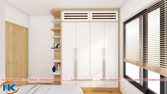 Tủ áo với kệ trang trí, có thiết kế cửa thông gió của điều hòa rất sáng tạo và hợp lý