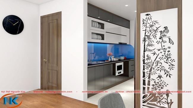 Mẫu tủ bếp acrylic an cường kiểu dáng chữ I kịch trần nhà chị Phượng