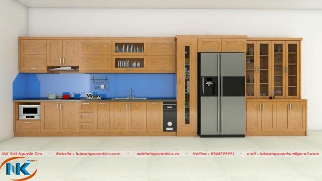 Ảnh thiết kế 3D tủ bếp chữ I chất liệu gỗ sồi nga nhà chị Hòa