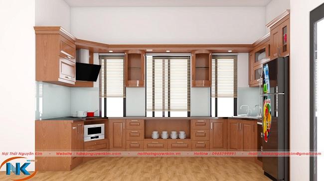 Mẫu tủ bếp gỗ sồi nga chữ U hiện đại, thông thoáng hợp với kết cấu phòng bếp gia chủ