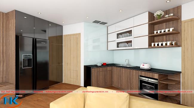 Mẫu tủ bếp melamine kết hợp cánh acrylic màu trắng bóng gương