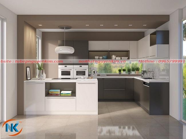 Tủ bếp melamine kiểu dáng chữ G sang trọng và tiện nghi hiện đại