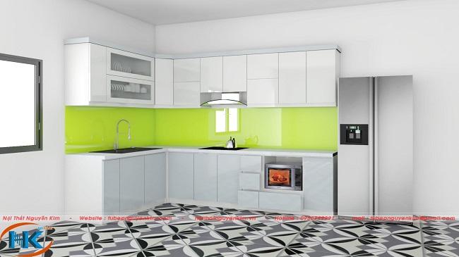 Mẫu tủ bếp acrylic đẹp kiểu dáng chữ L màu trắng bóng gương an cường
