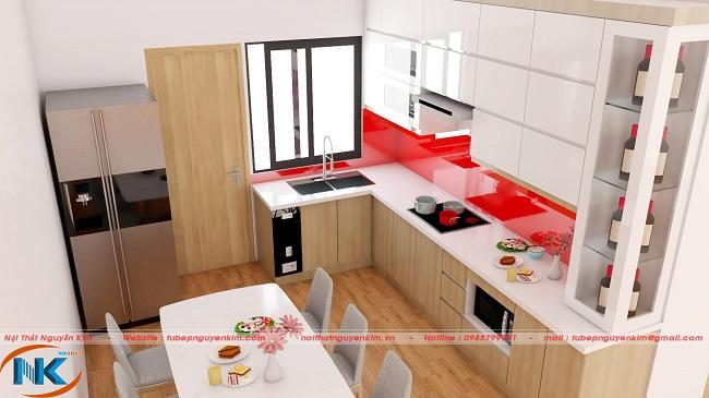 Phong cách hiện đại của tủ bếp acrylic bắt nguồn từ sự kết hợp hoàn hảo của màu trắng bóng gương và màu vân gỗ