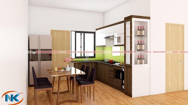 Phong cách hiện đại, đơn giản tạo vẻ đẹp tinh tế cho mẫu tủ bếp acrylic